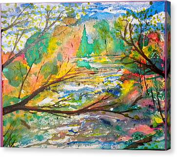 The Red Bridge At The Swift River Canvas Print