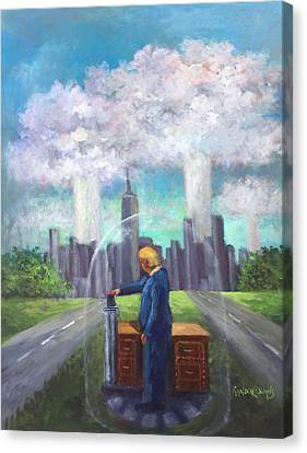 Canvas Print featuring the painting The Red Button  by Randol Burns
