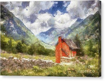 The Red Cabin By Sarah Kirk Canvas Print