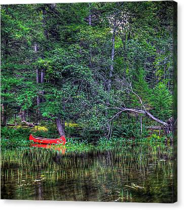 The Red Canoe Canvas Print by David Patterson