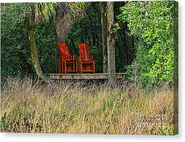Canvas Print featuring the photograph The Red Chairs by Deborah Benoit