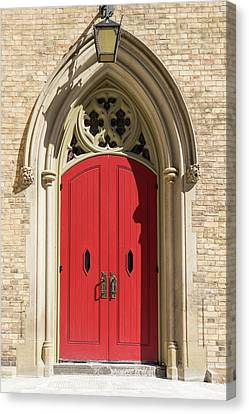 The Red Church Door. Canvas Print