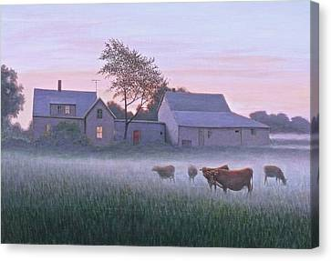The Red Door At Dawn Canvas Print by Paul Breeden