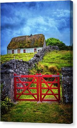 The Red Farm Gate In  Ireland Canvas Print by Debra and Dave Vanderlaan