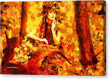 Red Leaf Canvas Print - The Red Forest Lady - Pa by Leonardo Digenio
