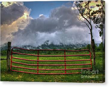 Canvas Print featuring the photograph The Red Gate by Douglas Stucky