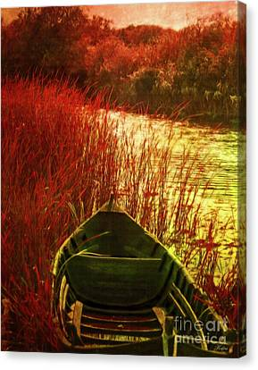 Reds Of Autumn Canvas Print - The Red Grass Of Autumn by KaFra Art