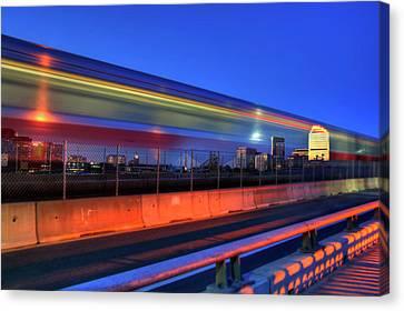 The Red Line Over The Longfellow Bridge Canvas Print