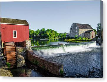 The Red Mill  On The Raritan River - Clinton New Jersey  Canvas Print by Bill Cannon