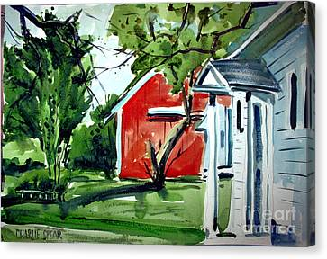 Canvas Print featuring the painting The Red Oxide Barn Matted by Charlie Spear
