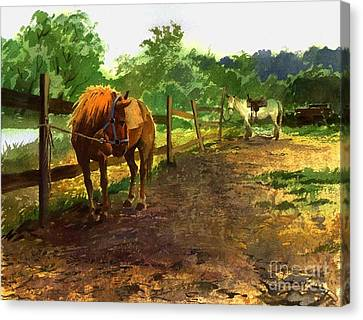 Canvas Print featuring the painting The Red Pony by Sergey Zhiboedov