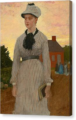 The Red School House Canvas Print by Winslow Homer