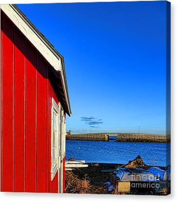 Fishing Shack Canvas Print - The Red Shack And The Cribstone Bridge by Olivier Le Queinec