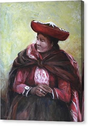 The Red Shawl  Canvas Print by Jun Jamosmos