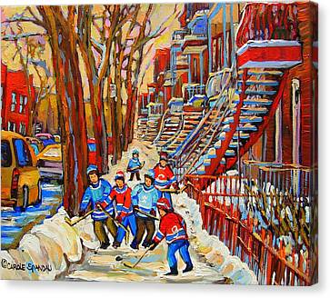 Montreal Winter Scenes Canvas Print - The Red Staircase Painting By Montreal Streetscene Artist Carole Spandau by Carole Spandau