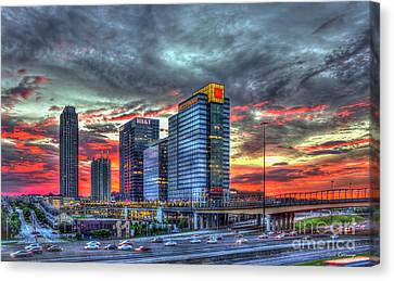 The Red Sunset Midtown Atlanta Cityscape Art Canvas Print