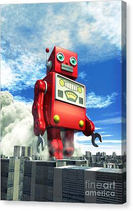 Science Fiction Canvas Print - The Red Tin Robot And The City by Luca Oleastri