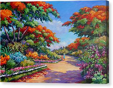 The Red Trees Of Savannah Canvas Print by John Clark