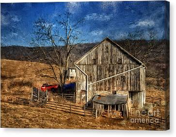 Bare Trees Canvas Print - The Red Truck By The Barn by Lois Bryan