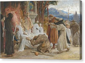 Mountain Men Canvas Print - The Redemption Of Tannhauser by Frank Dicksee