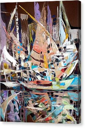 The Reflection Of Boats Canvas Print by Therese AbouNader