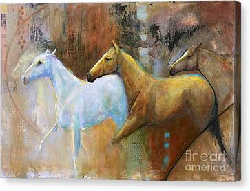 The Reflection Of The White Horse Canvas Print by Frances Marino
