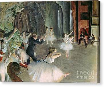 Repetition Canvas Print - The Rehearsal Of The Ballet On Stage by Edgar Degas