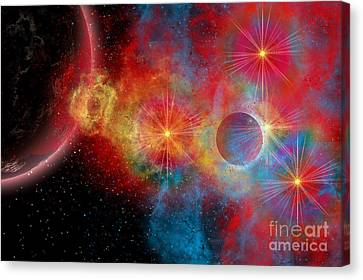 The Remains Of A Supernova Give Birth Canvas Print by Mark Stevenson