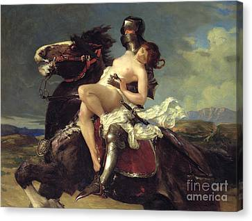 Horse Lover Canvas Print - The Rescue by Vereker Monteith Hamilton