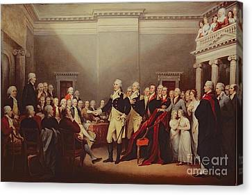 First Americans Canvas Print - The Resignation Of George Washington by John Trumbull