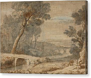 The Rest On The Flight Into Egypt Canvas Print by Follower of Claude Lorrain