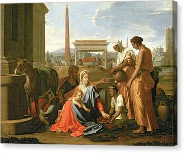 The Rest On The Flight Into Egypt Canvas Print by Nicolas Poussin