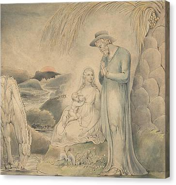 Blake Canvas Print - The Rest On The Flight Into Egypt by William Blake