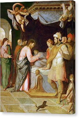 The Resurrection Of The Daughter Of Jairus Canvas Print by Attributed to Santi di Tito