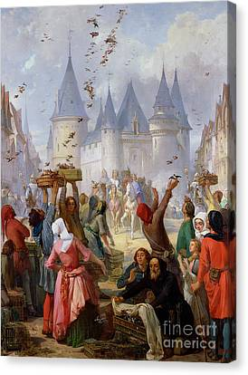 The Return Of Saint Louis Blanche Of Castille To Notre Dame Paris Canvas Print
