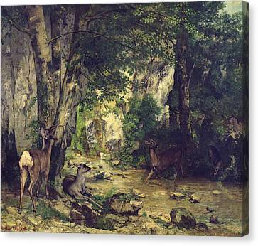 The Return Of The Deer To The Stream At Plaisir Fontaine Canvas Print
