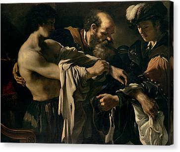 The Return Of The Prodigal Son Canvas Print by Giovanni Francesco Barbieri