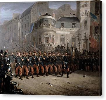 The Return Of The Troops To Paris From The Crimea Canvas Print by Emmanuel Masse