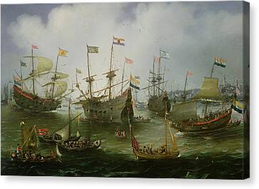 The Return To Amsterdam Of The Second Expedition To The East Indies Canvas Print by Andries van Eertvelt