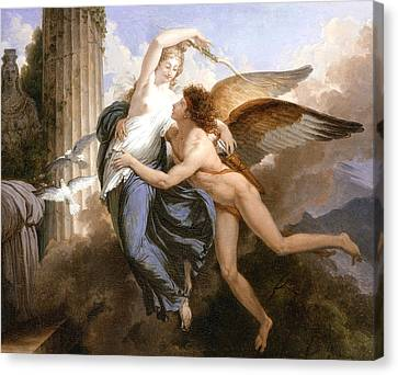 The Reunion Of Cupid And Psyche Canvas Print by Jean Pierre Saint-Ours