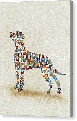 Canvas Print featuring the painting The Rhodesian Ridgeback Dog Watercolor Painting / Typographic Art by Inspirowl Design