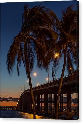 Florida Bridge Canvas Print - The Rickenbacker At Sunrise by Capt Gerry Hare