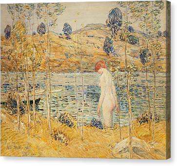 The River Bank Canvas Print by Childe Hassam