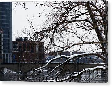 The River Divide Canvas Print by Linda Shafer
