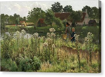 The River Lys At Astene Canvas Print by Emile Claus