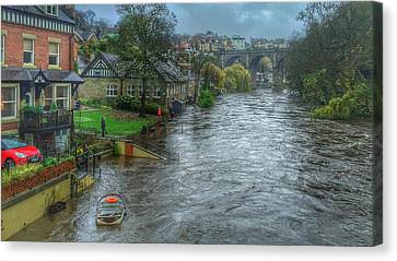 Canvas Print featuring the photograph The River Nidd In Flood At Knaresborough by RKAB Works
