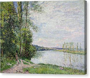 The Riverside Road From Veneux To Thomery Canvas Print by Alfred Sisley