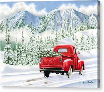 Snow-covered Landscape Canvas Print - The Road Home by Sarah Batalka