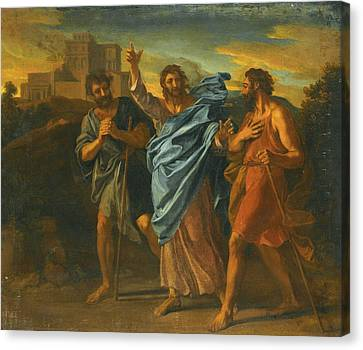 The Road To Emmaus Canvas Print by Attributed to Francois Verdier