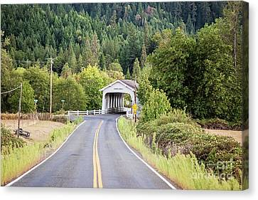 The Road To Grave Creek Covered Bridge - Grants Pass Canvas Print